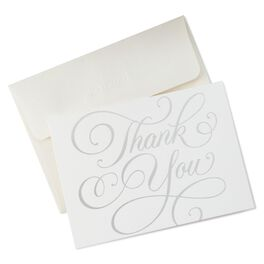Thank You in Silver Script Thank You Notes, , large