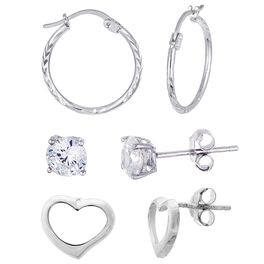 Sterling Silver Hoops, Heart Studs and Cubic Zirconia Studs 3-Pack Earring Set, , large