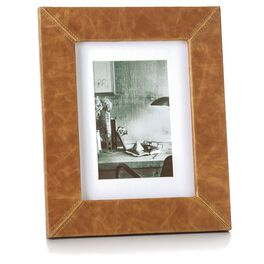 Faux Leather 4x6 Wood Picture Frame with Stitched Corners, , large