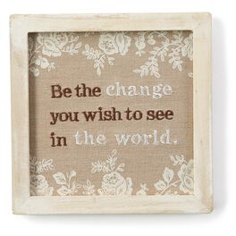 Change Embroidered Fabric Framed Art, , large