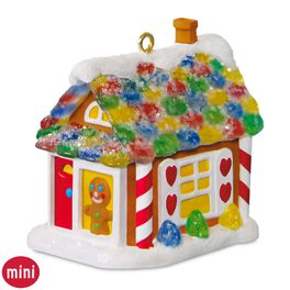 Sweet Little Mouse House Mini Gingerbread House Ornament With Light, , large