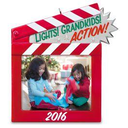 Lights! Grandkids! Action! Photo Holder Ornament, , large