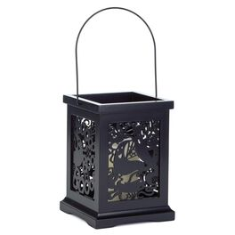 Laser-Cut Wooden Lantern with Spooky Ghosts Halloween Scene, , large