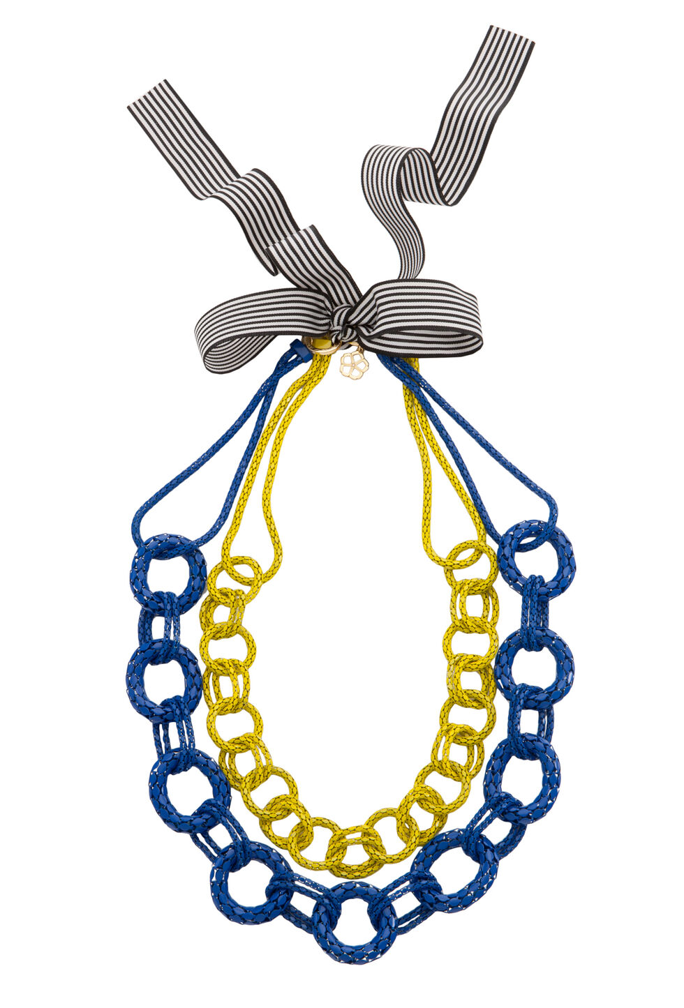 Colored Chain W Ribbon Necklace