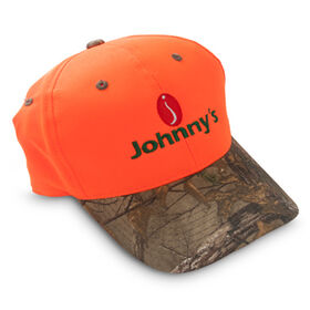 Johnnys Baseball Cap - Blaze orange & camo.