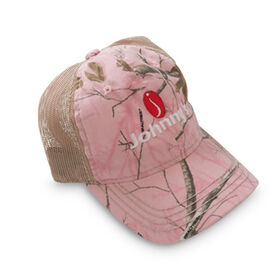 Johnny's Tractor Hat - Pink camo front, khaki mesh back. Clothing