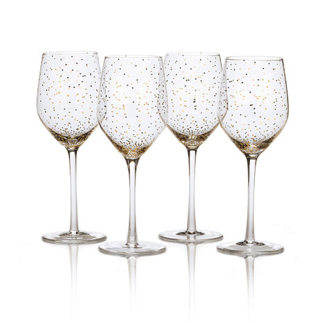 Set of 4 Dots Gold Wine Glasses