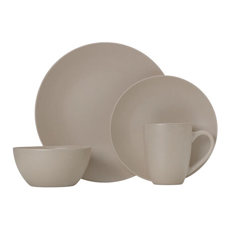 Tan 16 Piece Dinnerware Set