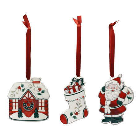 Set of 3 Jolly Santa Ornaments