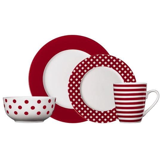 Red 32 Piece Dinnerware Set