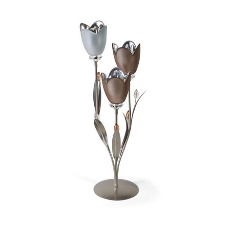 3 Light Grey Frost Tulip Centerpiece