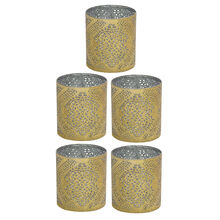 Set of 5 Mini Gold Wavy Tapestry Luminaries