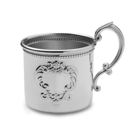 Beaded Raised Design Pewter Baby Cup