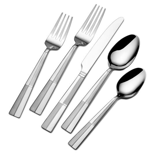 Arabesque Frost 45 Piece Flatware Set with Wire Caddy