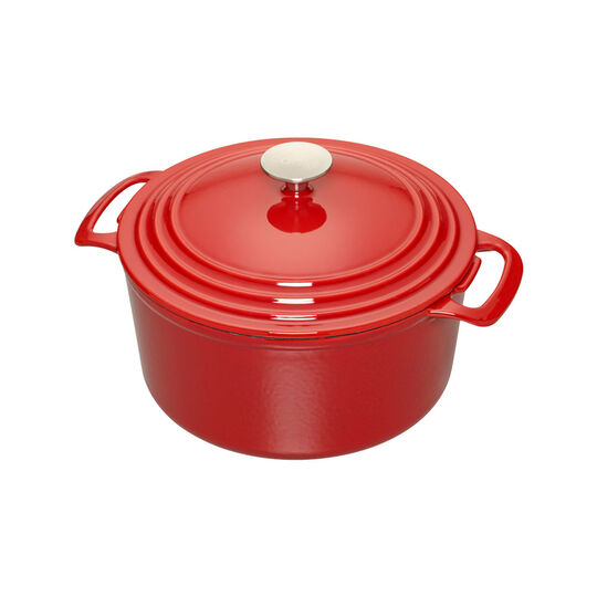 3.5 Quart Red Enameled Cast Iron Dutch Oven