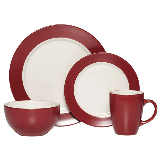 Red 48 Piece Dinnerware Set