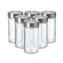 Set of 6 Glass Spice Jars with Stainless Steel Caps