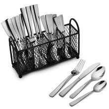 Satin Danford 24 Piece Flatware Set with Wire Caddy