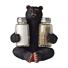 Resin Bear with Salt and Pepper Shakers