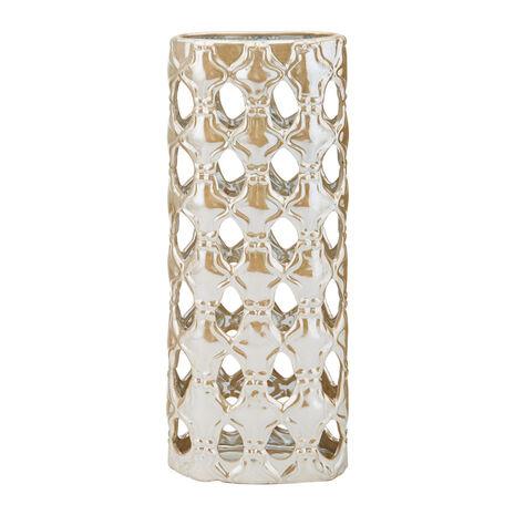 17 Inch White Luster Ceramic Vase