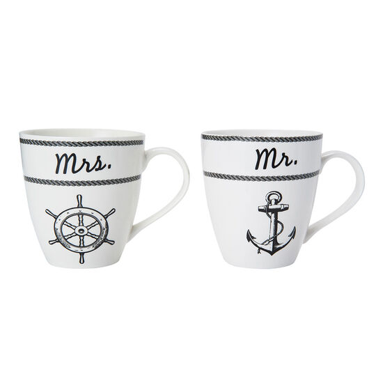 Set of 2 Mr and Mrs Nautical Mugs