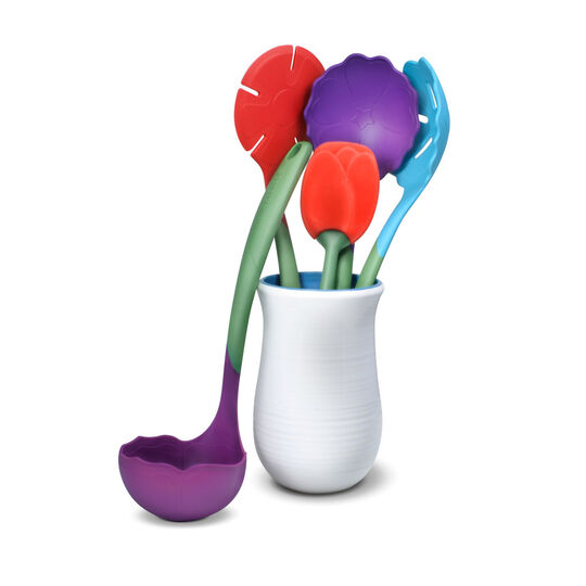 Flora 6 Piece Kitchen Tool and Crock Set