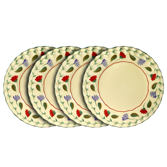 Set of 4 Fluted Dinner Plates