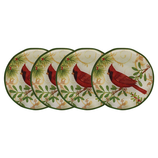 Set of 4 Holiday Cardinal Appetizer Plates