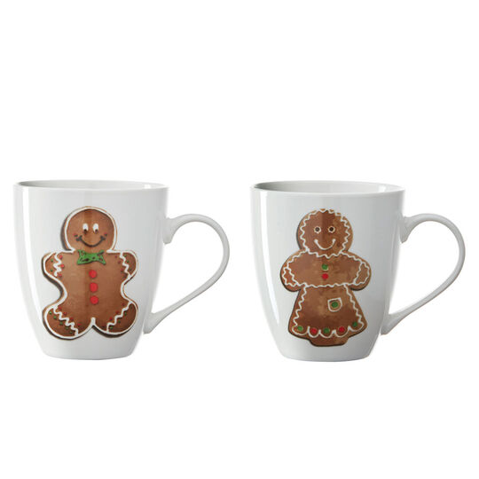 Set of 2 Gingerbread Couple Mugs