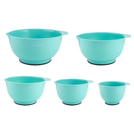Set of 5 Aqua Sky Mixing Bowls