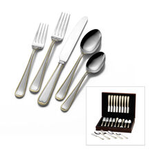 Gold Newcastle 45 Piece Flatware Set With Chest