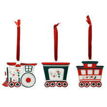 Set of 3 Train Ornaments
