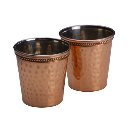 Set of 2 Hammered Copper Shot Glasses