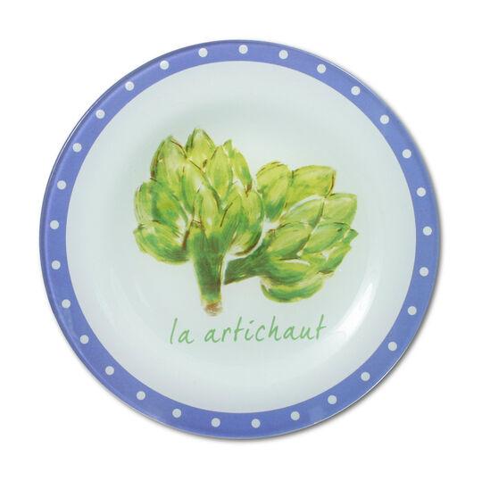 Market La Artichaut Glass Plate
