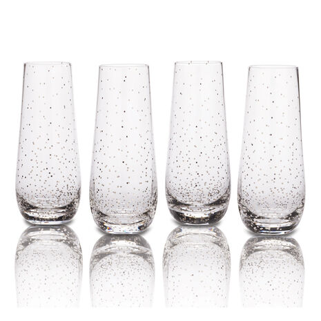 Set of 4 Dots Platinum Stemless Flute Glasses