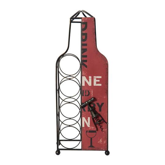 Red Metal Wine Bottle Holder