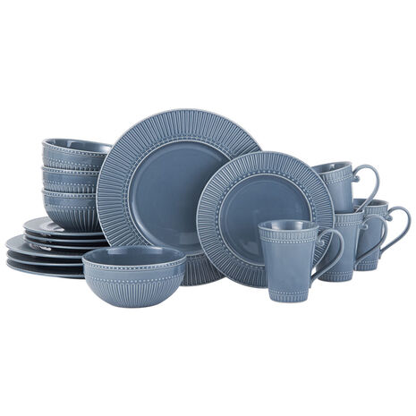 Fluted Blue 16 Piece Dinnerware Set