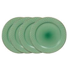Set of 4 Green Dinner Plates
