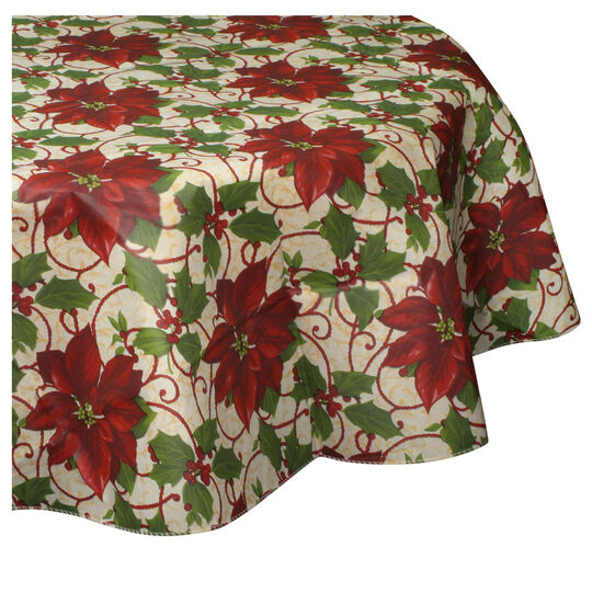 70 Inch Round Poinsettia Tablecloth