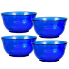 Set of 4 Cobalt Glass Soup Cereal Bowls