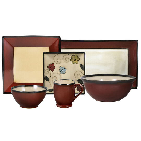 Square Red Flowers Service for 8 With Serveware