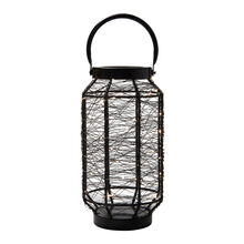 13 Inch Black LED String Light Lantern