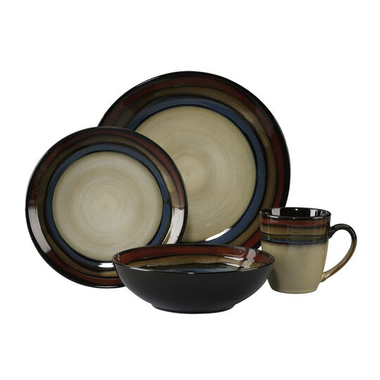 Red 64 Piece Dinnerware Set