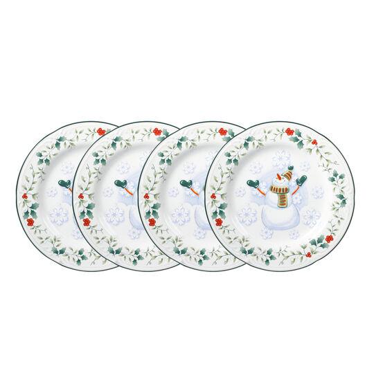 Set of 4 Snowman Salad Plates