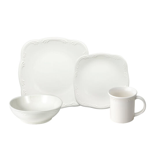 pfaltzgraff filigree 32 piece square dinnerware set