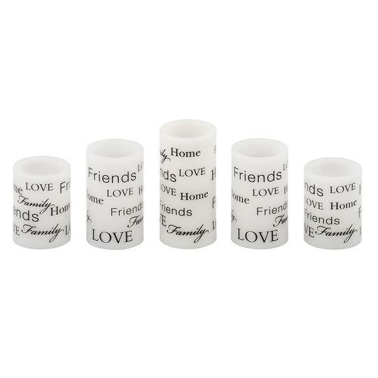 Set of 5 Sentiment LED Candles