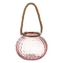 Pink Glass Lantern with Handle
