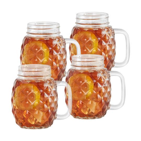 Set of 4 Pineapple Glass Mason Jars