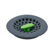 Gray Soft Sink Strainer with Green Knob