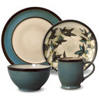 Round Blue Stalks 16 Piece Dinnerware Set
